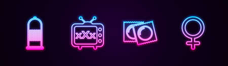 Set line Condom safe sex, Sex tv old television, Condoms in package and Female gender symbol. Glowing neon icon. Vector