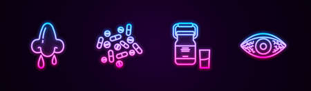 Set line Runny nose, Medicine pill or tablet, Can container for milk and Reddish eye allergic conjunctivitis. Glowing neon icon. Vector