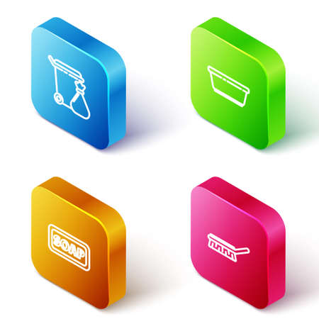 Set Isometric line Trash can and garbage bag, Plastic basin, Bar of soap and Brush for cleaning icon. Vector