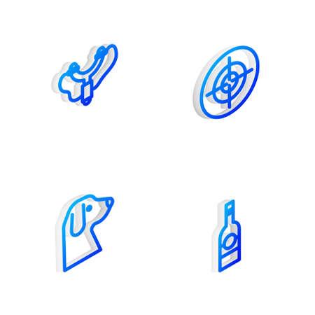 Set Isometric line Target sport, Slingshot, Dog and Bottle of vodka icon. Vector