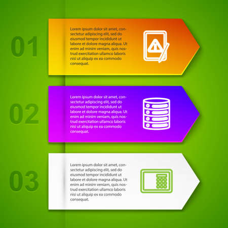 Set line Tablet with exclamation mark, Server, Data, Web Hosting, Safe and Cryptocurrency key. Business infographic template. Vector