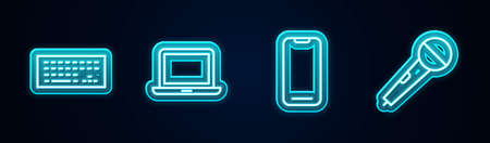 Set line Keyboard, Laptop, Smartphone and Microphone. Glowing neon icon. Vector