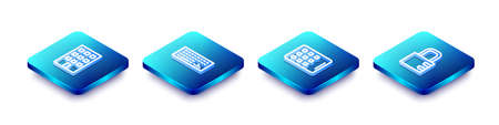 Set Isometric line House, Keyboard, Graphic tablet and Safe combination lock icon. Vector