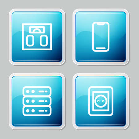 Set line Bathroom scales, Smartphone, Server, Data, Web Hosting and Electrical outlet icon. Vector