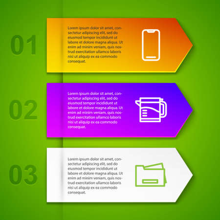 Set line Smartphone, Electric kettle, Printer and Security camera. Business infographic template. Vector