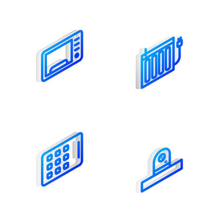 Set Isometric line Heating radiator, Microwave oven, Graphic tablet and Security camera icon. Vector 向量圖像