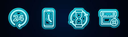 Set line Clock 24 hours, Alarm clock app mobile, Old hourglass and Calendar date delete. Glowing neon icon. Vector