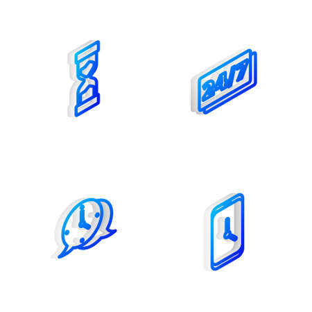 Set Isometric line Clock 24 hours, Old hourglass, speech bubble and Alarm clock app mobile icon. Vector