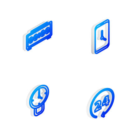 Set Isometric line Alarm clock app mobile, Digital alarm, Clock and 24 hours icon. Vector 向量圖像