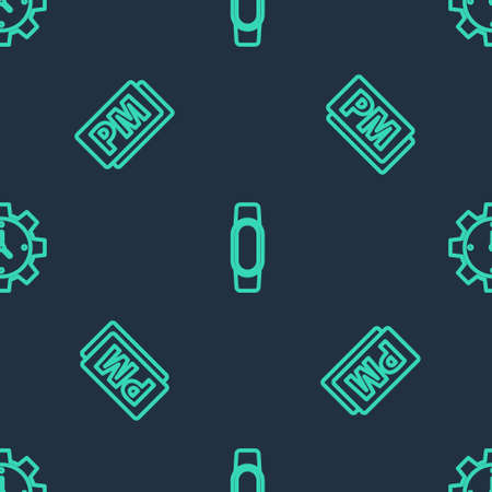Set line Smartwatch, Clock PM and Time Management on seamless pattern. Vector