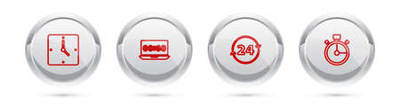 Set line Clock, on laptop, 24 hours and Stopwatch. Silver circle button. Vector 向量圖像