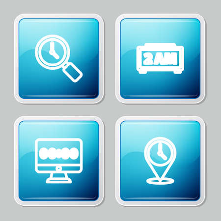 Set line Magnifying glass with clock, Digital alarm, Clock on monitor and Location icon. Vector