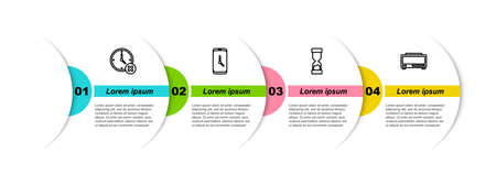 Set line Clock delete, Alarm clock app mobile, Old hourglass and Digital alarm. Business infographic template. Vector