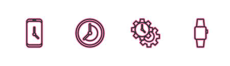 Set line Alarm clock app mobile, Time Management, Clock and Smartwatch icon. Vector
