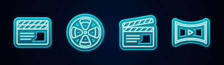 Set line Movie clapper, Film reel, and Online play video. Glowing neon icon. Vector.