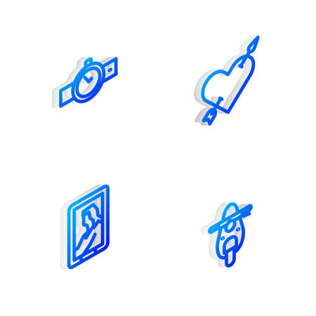Set Isometric line Amour with heart and arrow, Wrist watch, Portrait in museum and Scooter icon. Vector