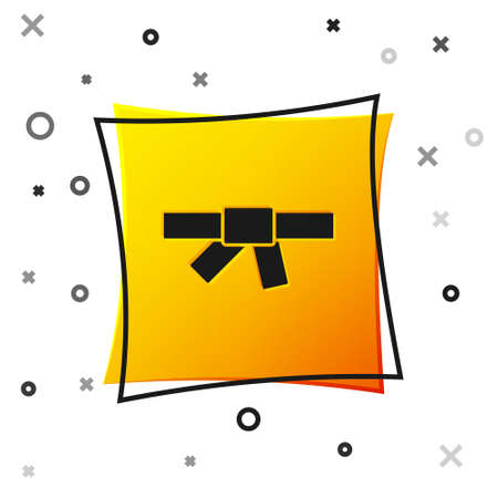 Black Black karate belt icon isolated on white background. Yellow square button. Vector