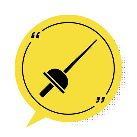 Black Fencing icon isolated on white background. Sport equipment. Yellow speech bubble symbol. Vector