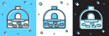 Set Brick stove icon isolated on blue and white, black background. Brick fireplace, masonry stove, stone oven icon. Vector Vector Illustratie