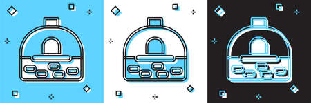 Set Brick stove icon isolated on blue and white, black background. Brick fireplace, masonry stove, stone oven icon. Vector 向量圖像