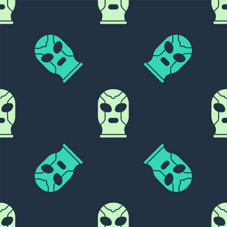 Green Mexican wrestler icon isolated seamless pattern on blue background. Vector