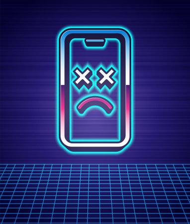 Retro style Dead mobile icon isolated futuristic landscape background. Deceased digital device emoji symbol. Corpse smartphone showing facial emotion. 80s fashion party. Vector Vektorové ilustrace