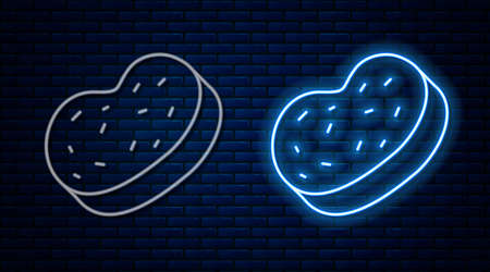 Glowing neon line Bath sponge icon isolated on brick wall background. Sauna sponge. Vector