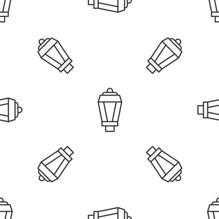 Grey line Garden light lamp icon isolated seamless pattern on white background. Solar powered lamp. Lantern. Street lamp. Vector
