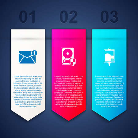 Set New, email incoming message, Hard disk drive HDD protection and IV bag. Business infographic template. Vector