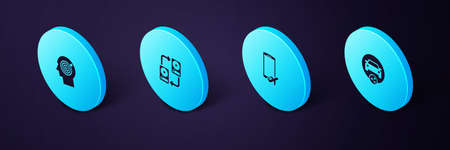 Set Isometric Car sharing, Flight mode the mobile, Data exchange with hhd and Head hunting concept icon. Vector