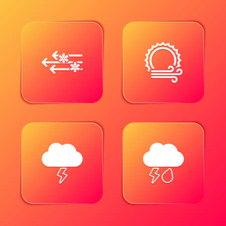Set Wind and snow, sun, Storm and Cloud with rain lightning icon. Vector