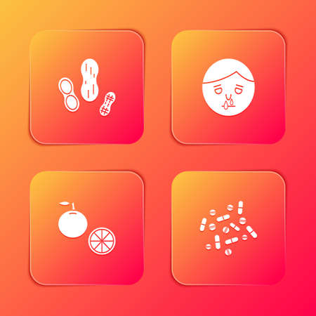 Set Peanut, Runny nose, Orange fruit and Medicine pill or tablet icon. Vector