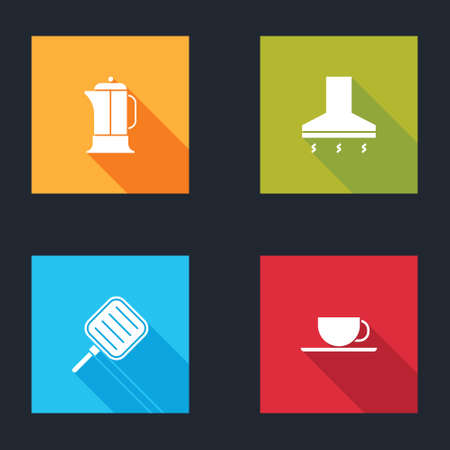 Set French press, Kitchen extractor fan, Frying pan and Coffee cup icon. Vector
