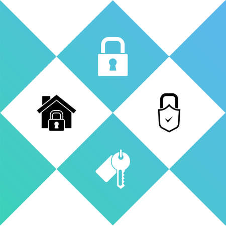 Set House under protection, Marked key, Lock and and check mark icon. Vector