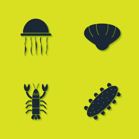 Set Jellyfish, Sea cucumber, Lobster and Scallop sea shell icon. Vector