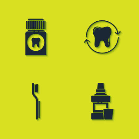 Set Painkiller tablet, Mouthwash bottle, Toothbrush and whitening icon. Vector Ilustracja