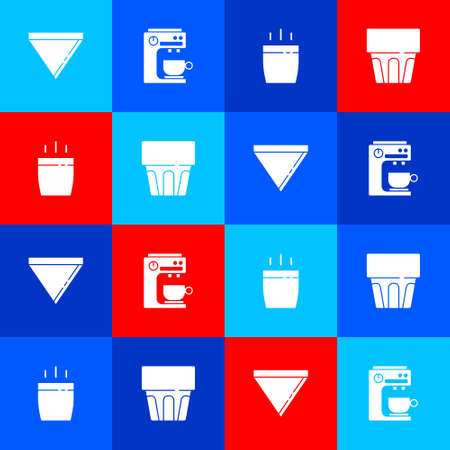 Set Coffee paper filter, machine, cup and Glass with water icon. Vector