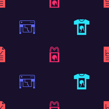 Set T-shirt, Plotter, Paper shopping bag and Document with graph chart on seamless pattern. Vector