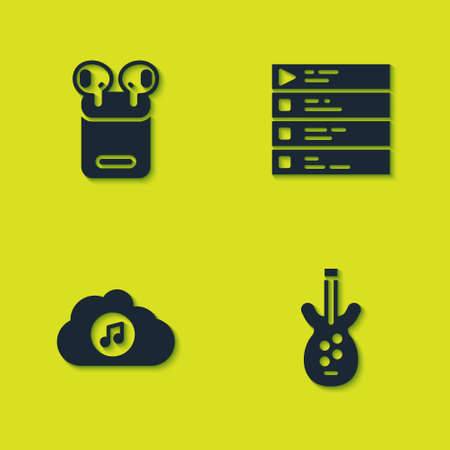 Set Air headphones in box, Electric bass guitar, Music streaming service and playlist icon. Vector