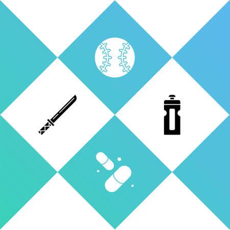 Set Japanese katana, Vitamin pill, Baseball ball and Fitness shaker icon. Vector