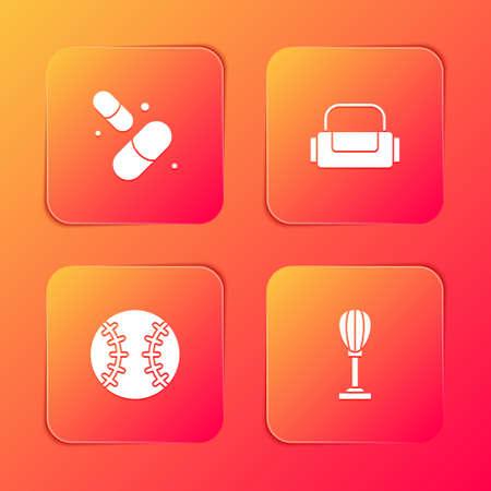 Set Vitamin pill, Sport bag, Baseball ball and Punching icon. Vector Ilustracja