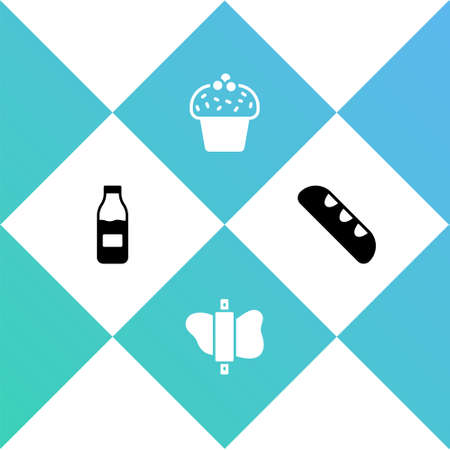 Set Bottle with milk, Rolling pin on dough, Cake and French baguette bread icon. Vector