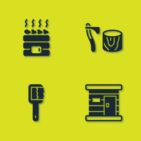 Set Hot sauna stones, Sauna wooden bathhouse, brush and Wooden axe in stump icon. Vector Иллюстрация