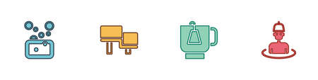 Set Bar of soap, Sauna wood bench, Cup tea with tea bag and Man in the sauna icon. Vector