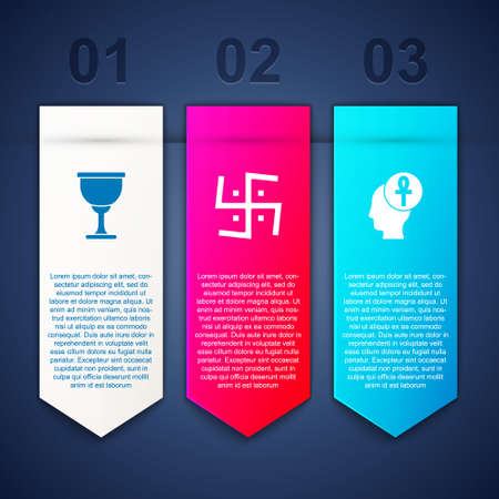 Set Holy grail or chalice, Hindu swastika and Cross ankh. Business infographic template. Vector