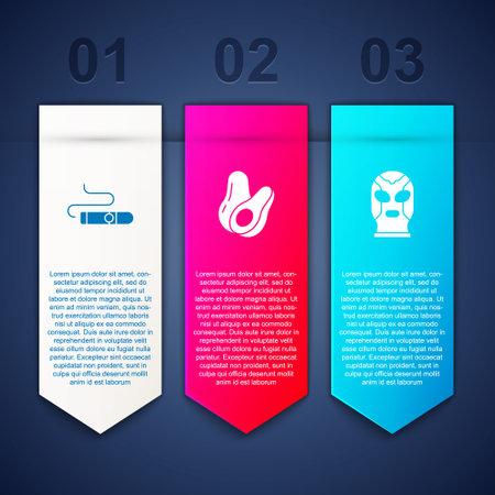 Set Cigar, Avocado fruit and Mexican wrestler. Business infographic template. Vector