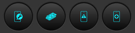 Set Mobile service, with broken screen, exclamation mark and Phone repair icon. Vector
