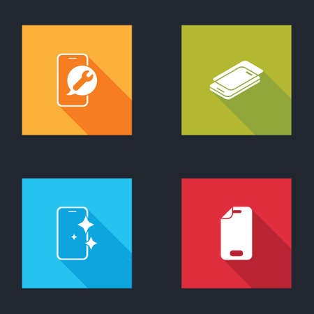 Set Mobile service, Glass screen protector, and icon. Vector