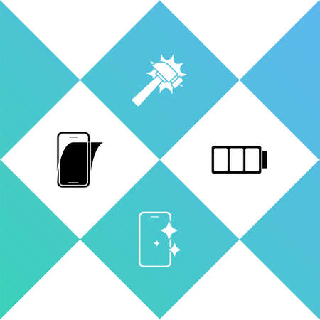 Set Glass screen protector,  Hammer and Battery icon. Vector