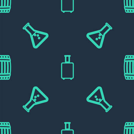 Set line Travel suitcase, Test tube and flask and Wooden barrel on seamless pattern. Vector
